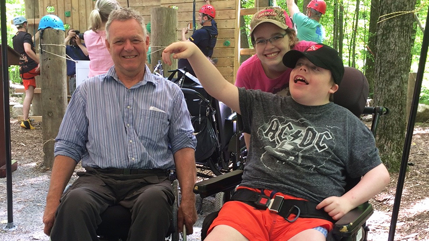 People on wheelchair experiencing Camp Kawartha